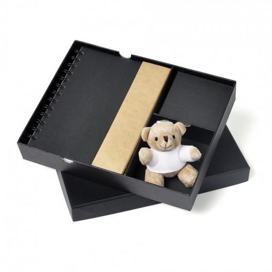 Conjunto Para Escritório Com Bloco De Anotação, Caderno E Chaveiro Ursinho - 3 Pçs