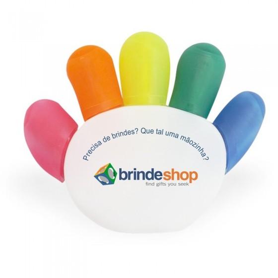 Caneta Marca Texto 5 cores Personalizada - formato mão