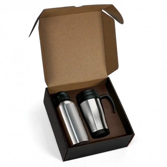 Kit com Squeeze e Caneca em Aço Inox 600/410 ml- 2 Pçs