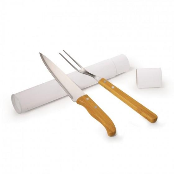 Conjunto com faca 7'' e garfo em Inox e Bambu