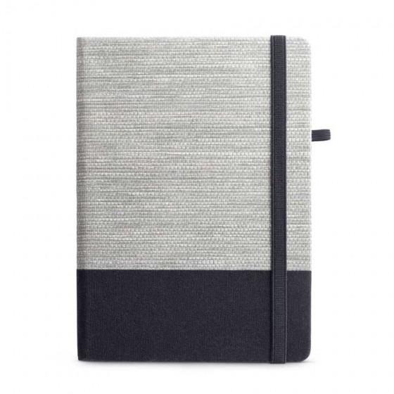 Caderno capa dura com Palha e algodão canvas. 96 folhas pautadas - 93268-103