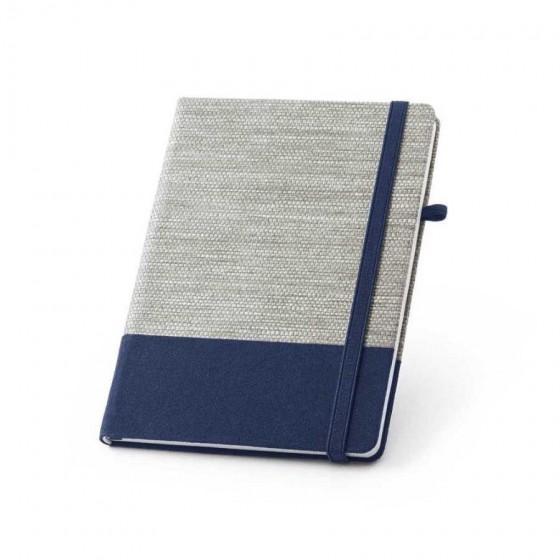 Caderno capa dura com Palha e algodão canvas. 96 folhas pautadas - 93268-104