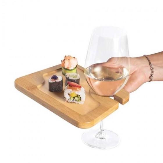Prato em Bambu para aperitivos com suporte para copo - 93829-160