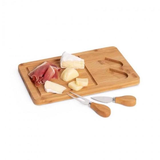 Tábua de queijos em Bambu e aço inox. Com 2 talheres - 93830-160