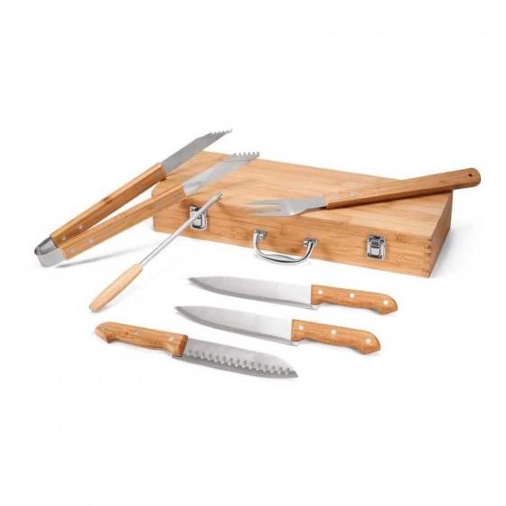Kit churrasco em Aço inox e bambu. Estojo com 6 peças - 93844-160
