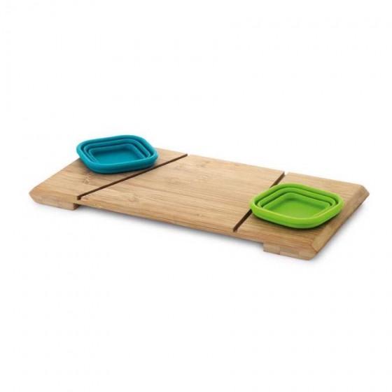 Base de mesa com 2 potes. Bambu e silicone - 93898.00