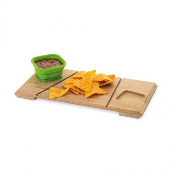 Base de mesa com 2 potes. Bambu e silicone - 93898-100
