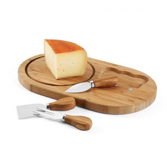 Tábua de queijos. Bambu. Com 3 talheres - 93976.60