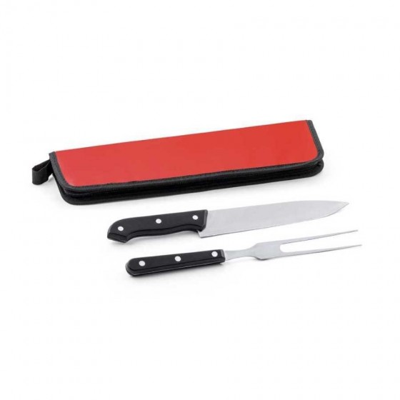 Kit churrasco em Aço inox e PP com 2 peças em estojo de 210D - 94137-105