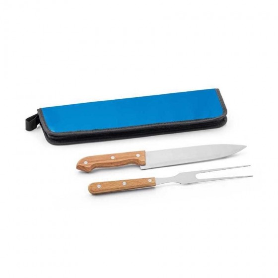 Kit churrasco em Aço inox e madeira com 2 peças - 94138-104