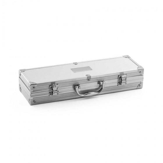 Kit churrasco em Aço inox com 4 peças em estojo de alumínio - 94141-127