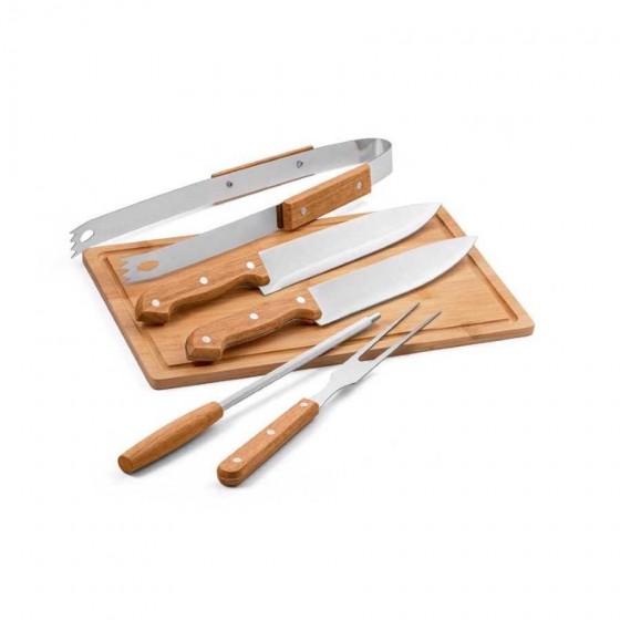 Kit churrasco em Aço inox e madeira - 94142-103