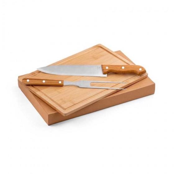 Kit churrasco Aço inox e bambu. Tábua e 2 peças - 94143-160