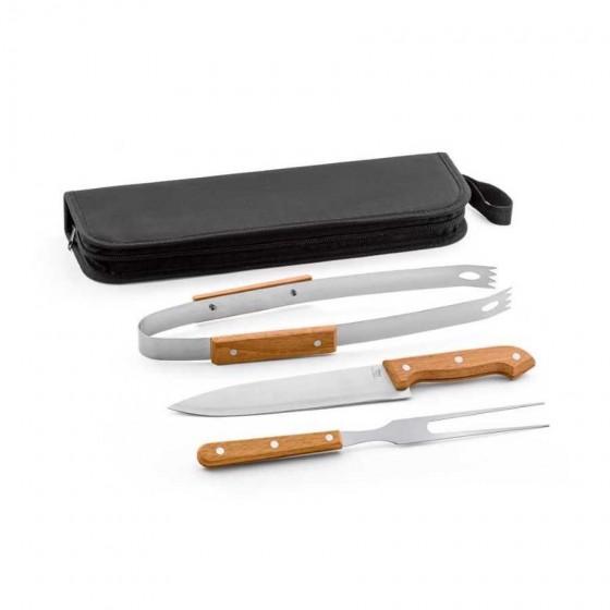 Kit churrasco em Aço inox e madeira com 3 peças - 94145-103